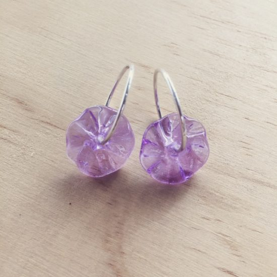 hoop earrings with purple glass beads