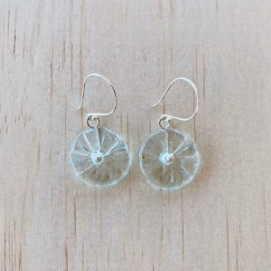 recycled glass earrings, beads made from a wine bottle