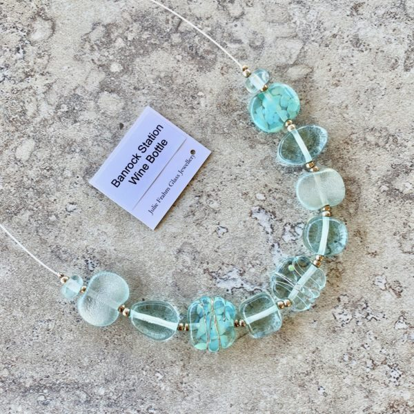 recycled glass necklace, beads made from a wine bottle