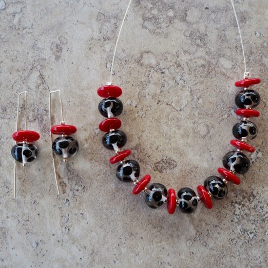 black and red glass necklace