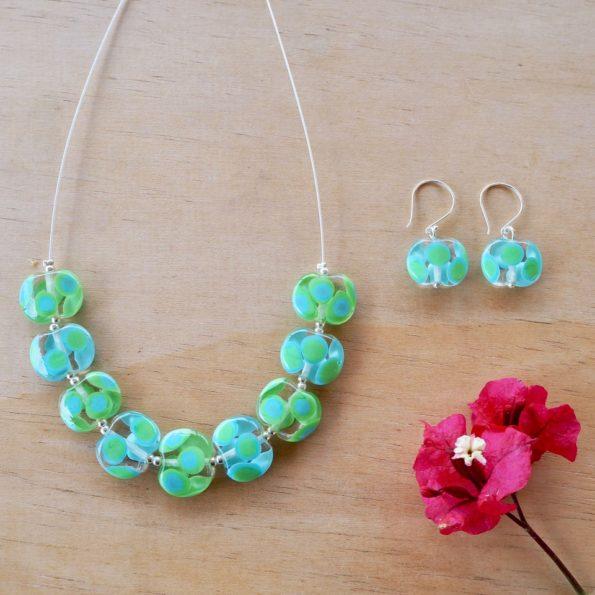 blue green dotty glass necklace