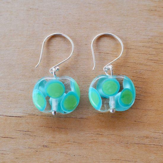 blue green dotty glass earrings