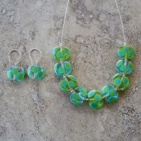 blue green dotty glass necklace