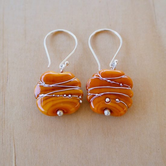 orange glass earrings