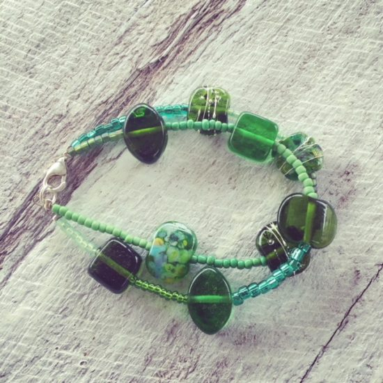 recycled green glass bracelet