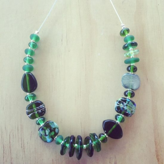 Champagne bottle Recycled glass beads