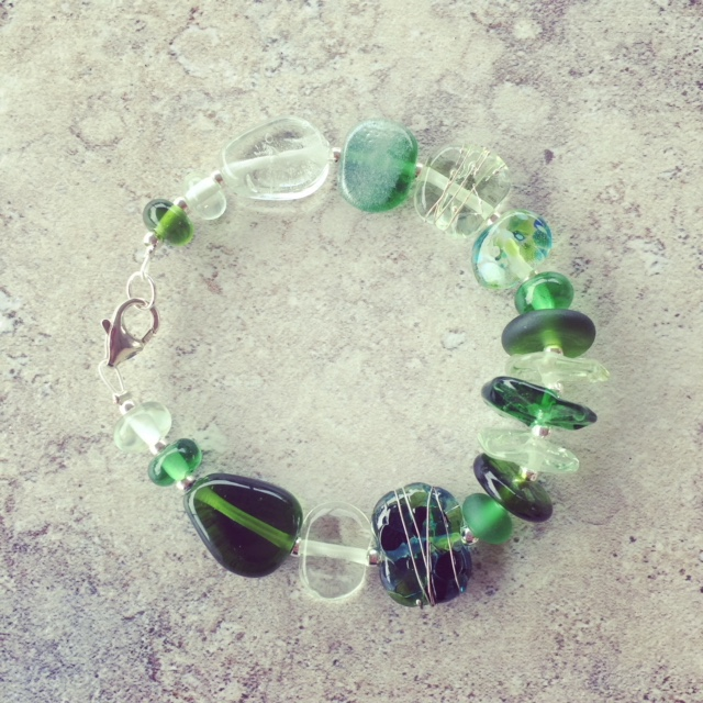 recycled glass bracelet