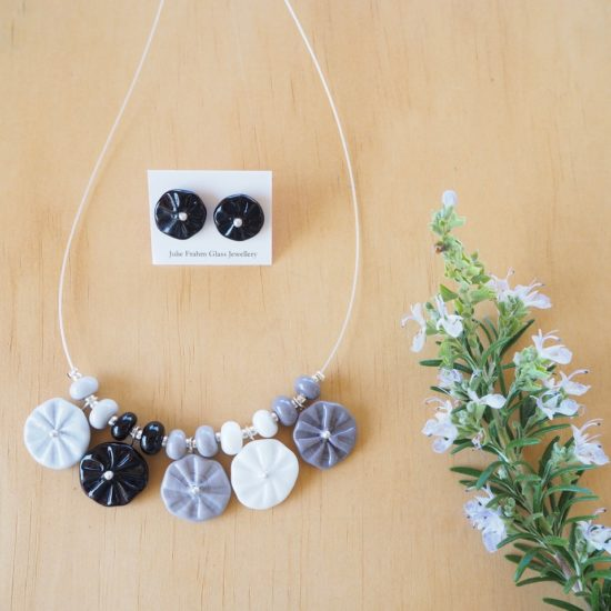 black and white flower necklace