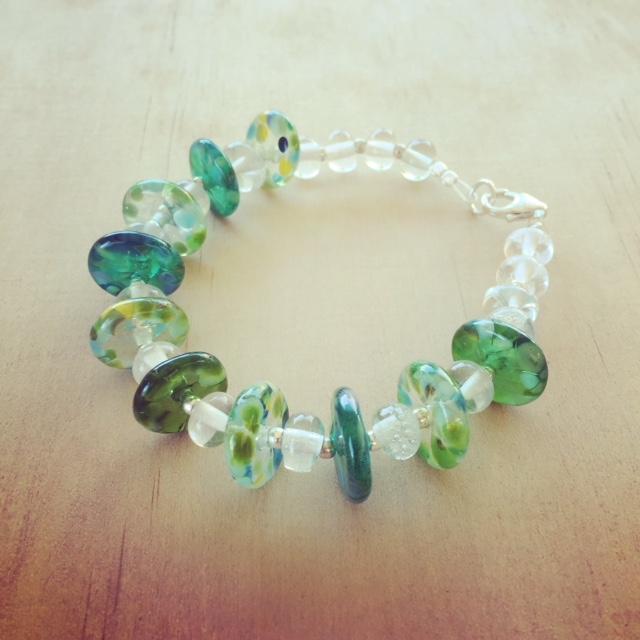 Green recycled glass bracelet