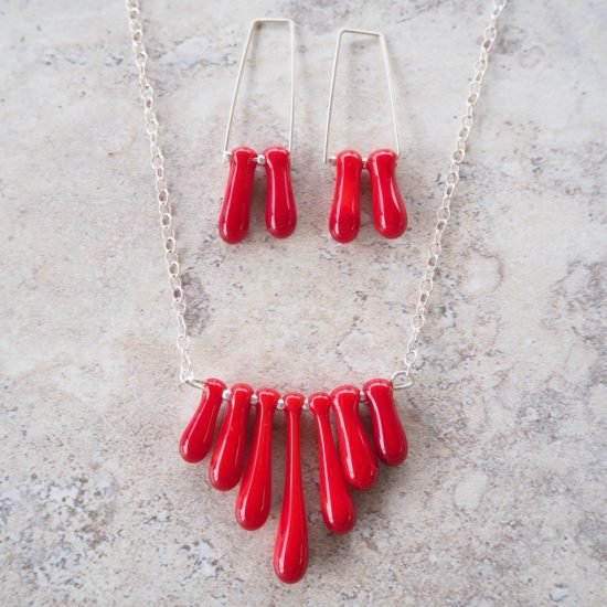red glass jewellery