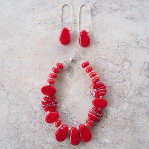 red glass jewellery