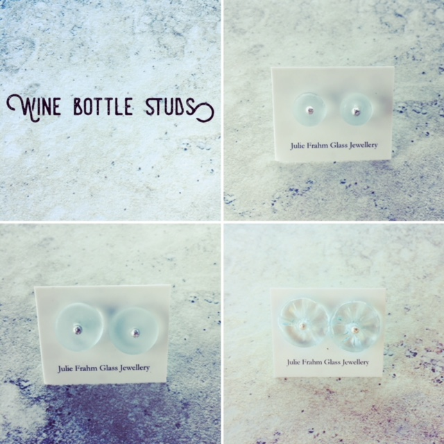 recycled glass stud earrings