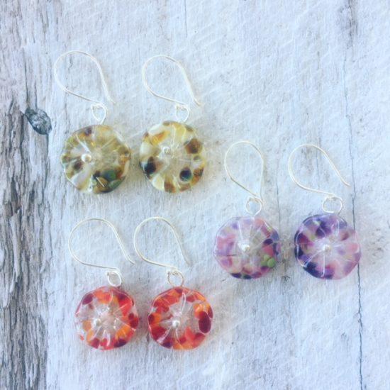 recycled glass flower earrings