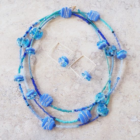 long blue glass bead necklace