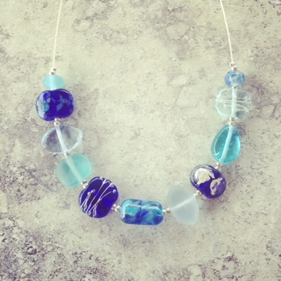 blue recycled glass necklace