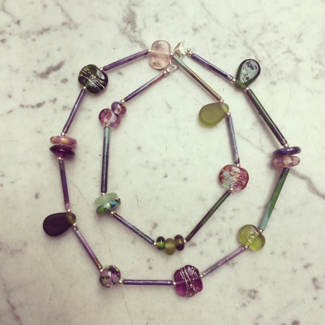 purple green glass necklace