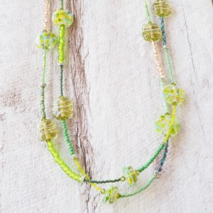 long green glass bead necklace