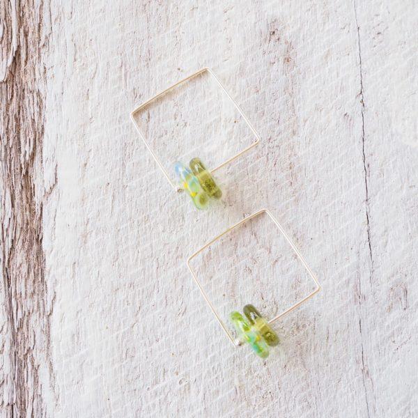green glass bead earrings
