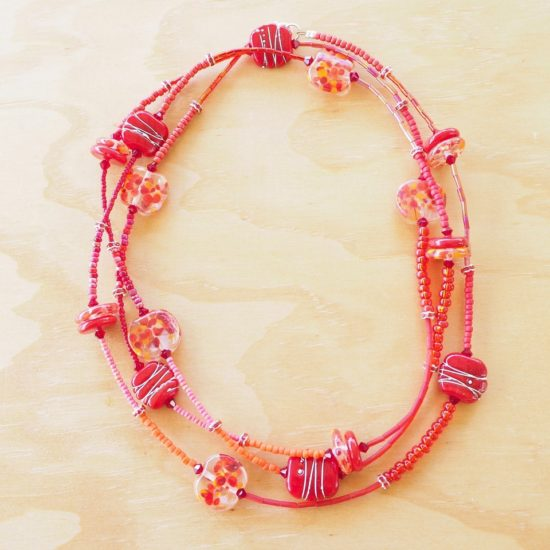 long red glass bead necklace