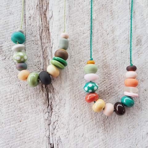 green handmade glass bead necklace