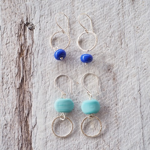 blue glass earrings with sterling silver