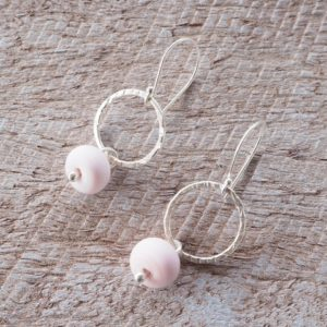 silver and pink earrings