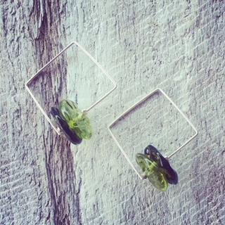 recycled glass bead earrings