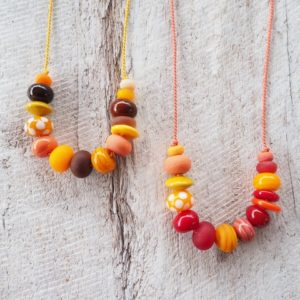 yellow and orange glass bead necklace