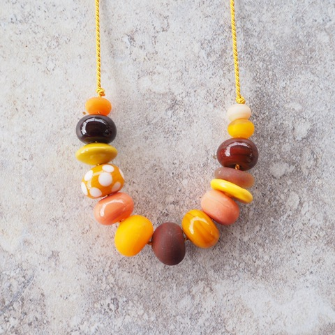 yellow glass bead necklace