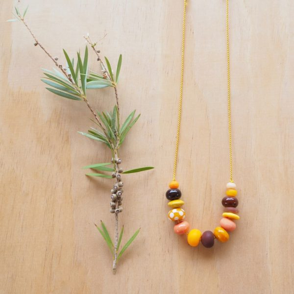 yellow handmade glass bead necklace