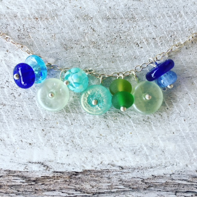 recycled glass charm bracelet