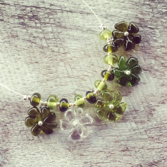 Recycled glass necklace | handmade recycled glass beads made from Bethany Wines wine bottles.