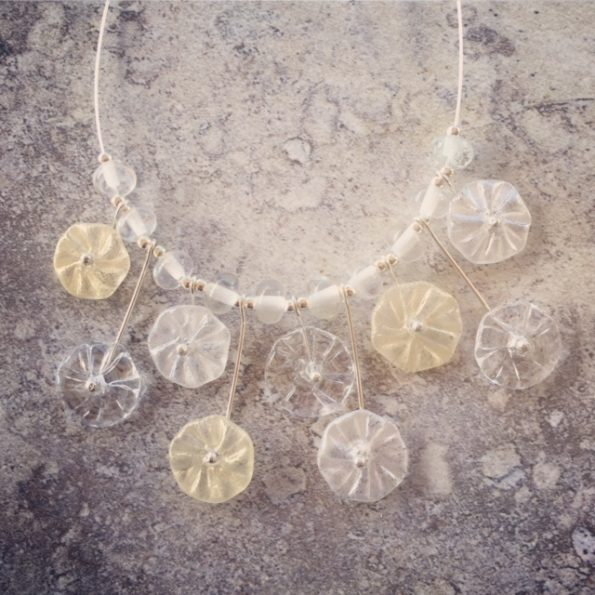 recycled glass necklace | handmade recycled glass beads made from a Bethany Winery wine bottle