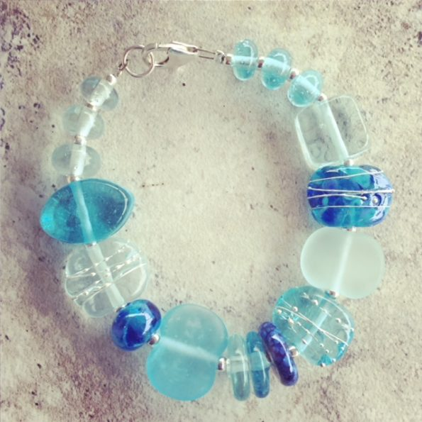 Recycled glass bracelet | featuring beads made from wine and gin bottles.
