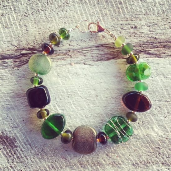 recycled glass bracelet | beads made from wine, beer, champagne and gin bottles