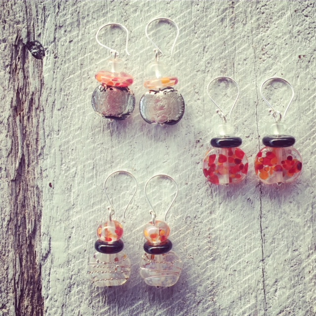 Recycled glass earrings | beads made from Gin and Tonic bottles