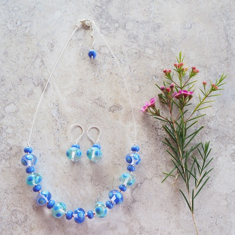 Blue handmade glass bead necklace