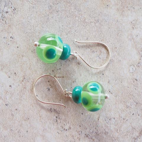 Handmade glass bead earrings - green