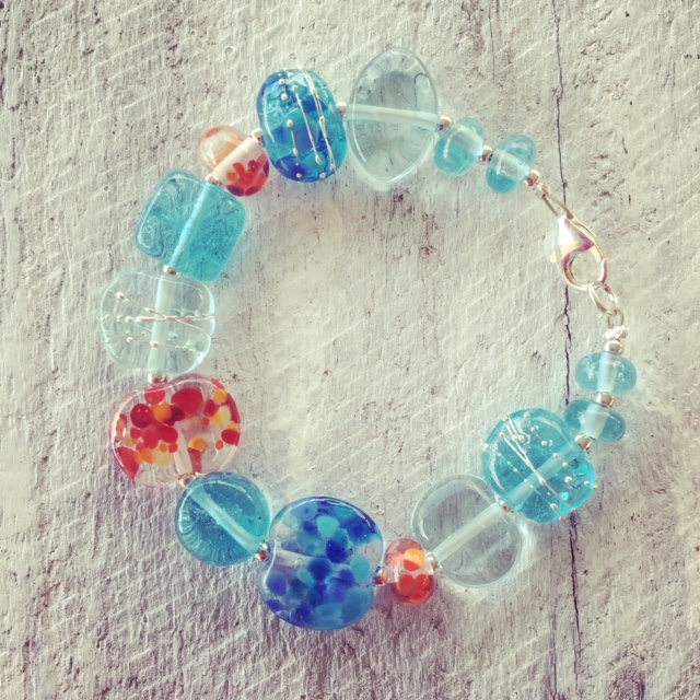 Recycled glass bracelet | beads made from gin and wine bottles