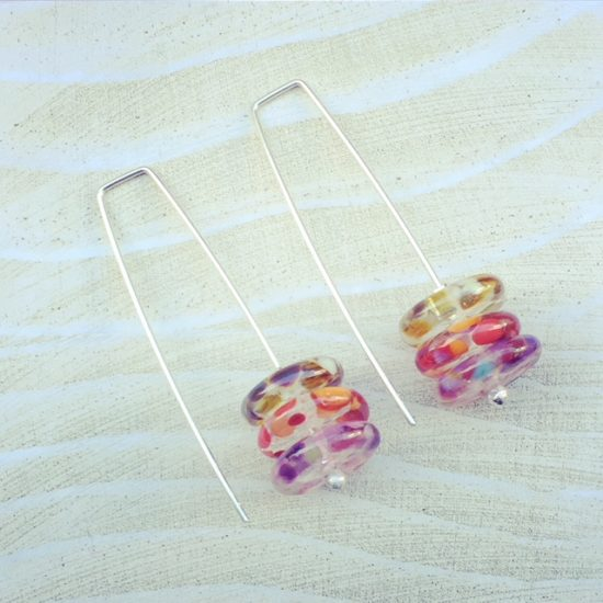 recycled glass earrings | handmade recycled glass beads made from a wine bottle