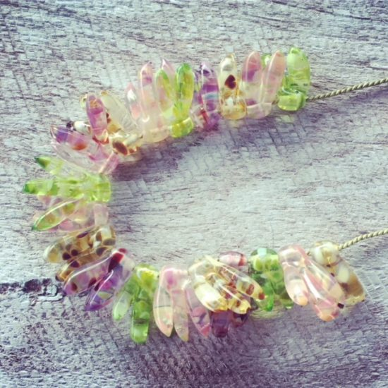Recycled glass necklace | beads made from a broken window