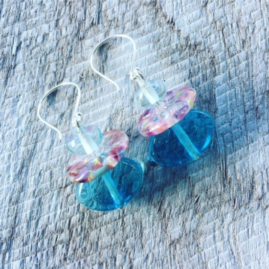 Recycled glass earrings | contrasting beads made from wine and gin bottles