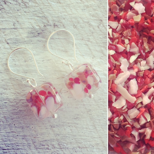 Recycled glass earrings | beads made from a wine bottle, decorated with red/pink frit