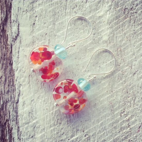 Recycled glass earrings | beads made from a Bombay Sapphire Gin and tonic water bottle.