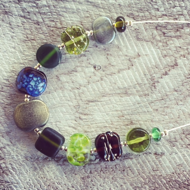 Recycled glass bead necklace | beads made from wine and gin bottles in earthy tones