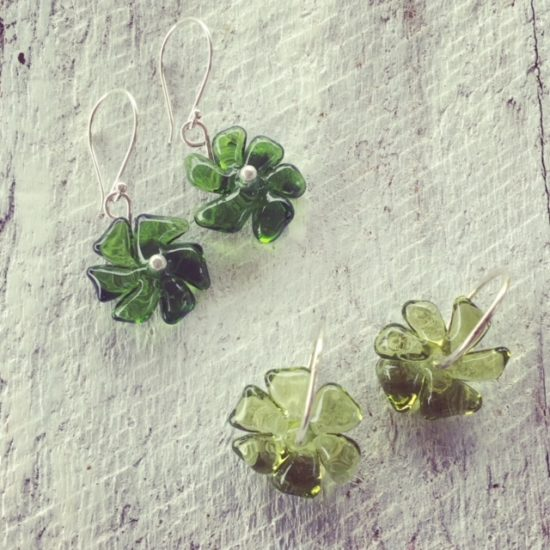 Recycled glass bead earrings   glass flowers made from a wine bottle