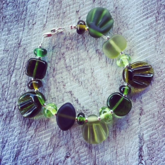 Recycled glass beads   handmade glass beads made from a wine bottle are using in this cute eco-bracelet.