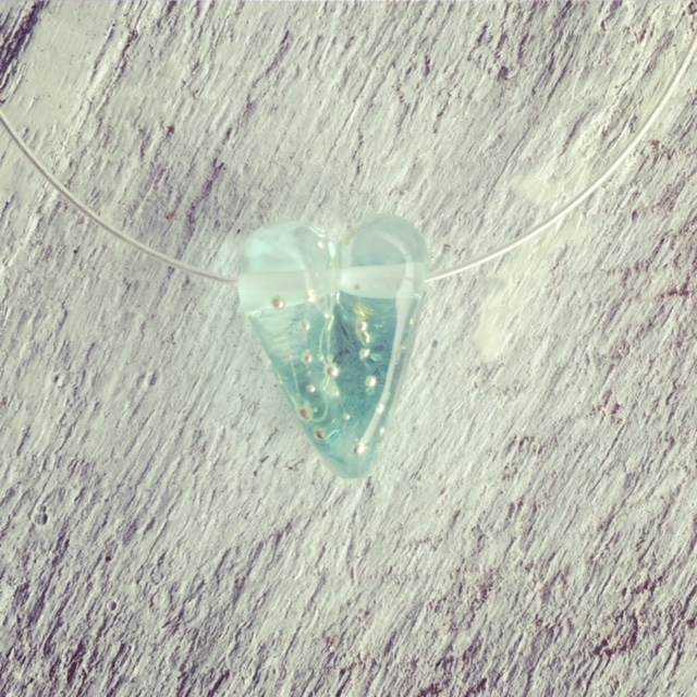 Recycled glass heart bead | bead made from a wine bottle