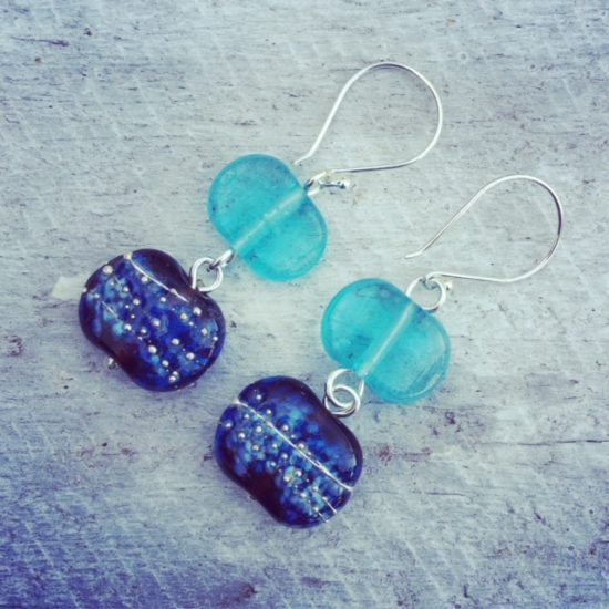 Recycled glass earrings | beads made from Hendricks and Bombay Sapphire Gin bottles