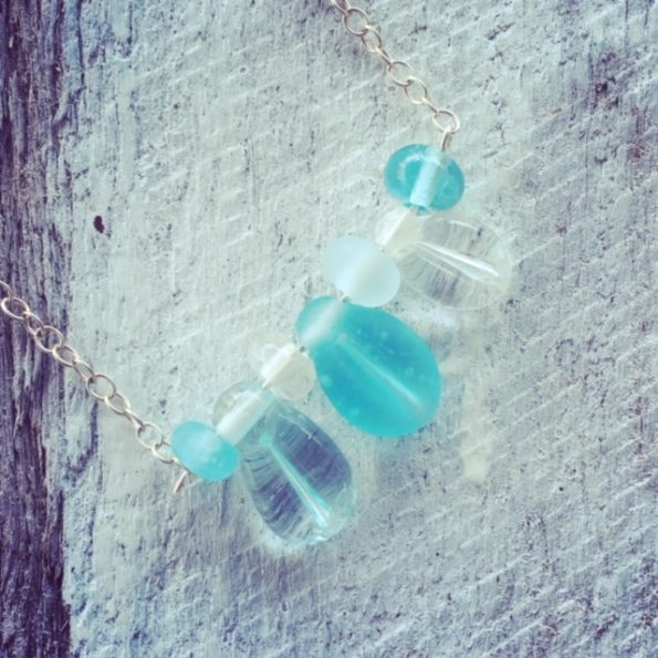 Recycled glass bead necklace | beads made from wine and gin bottles